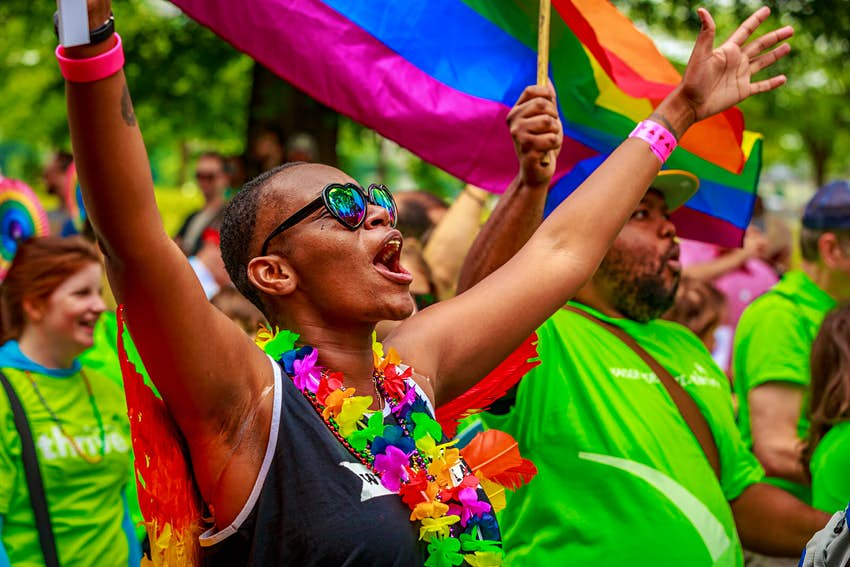 Pride in the US: A parade participant cheers in Portland, Oregon, USA © Png Studio Photography / Shutterstock