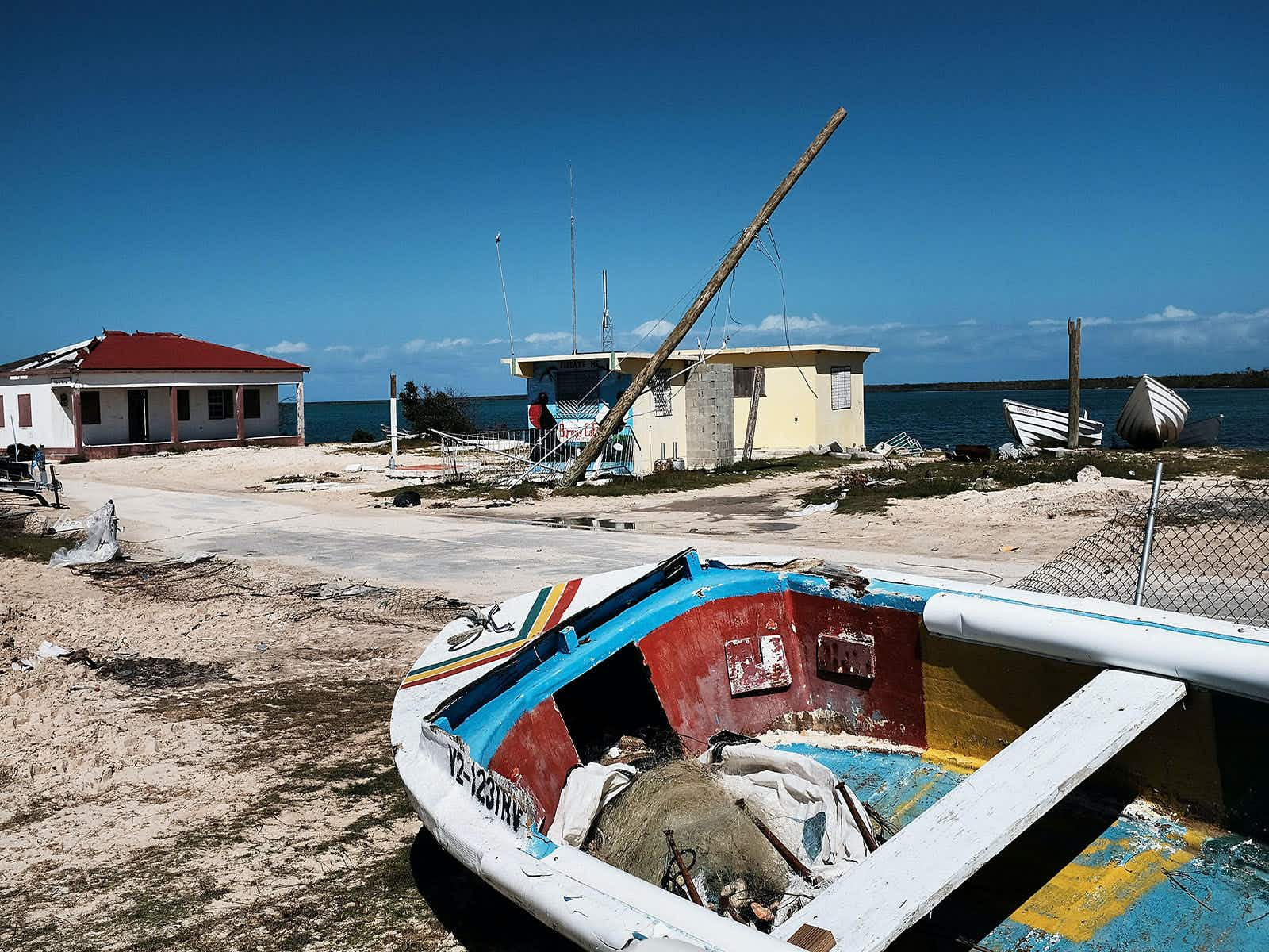 Debris from damaged homes lines a street on the nearly destroyed island of Barbuda on December 8, 2017 in Cordington, Barbuda Spencer Platt/Getty Images