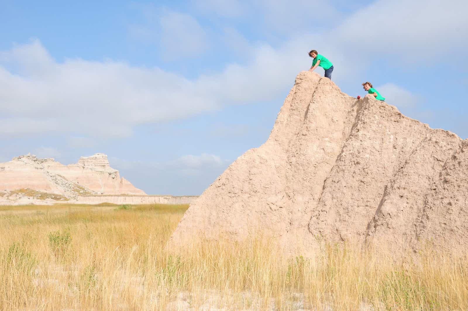 Two boys hiking in Badlands National Park, South Dakota