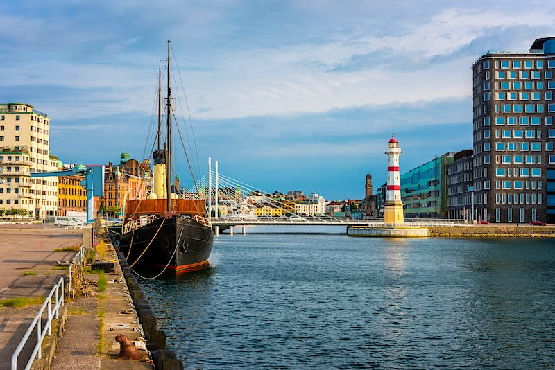Features - Lighthouse in Harbor of Malmo Sweden