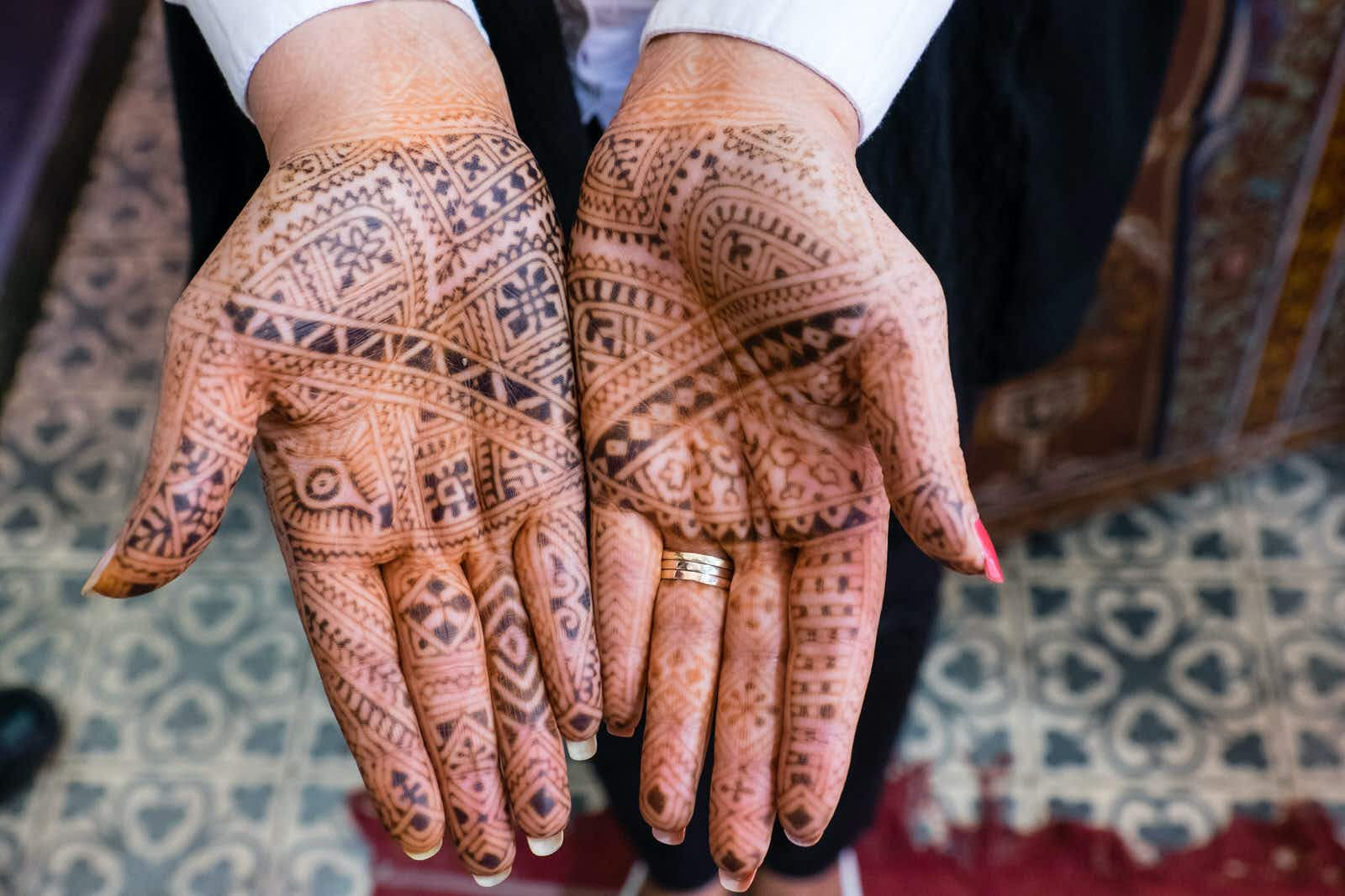 North Africa, Morocco, Marrakech. Henna Hands.