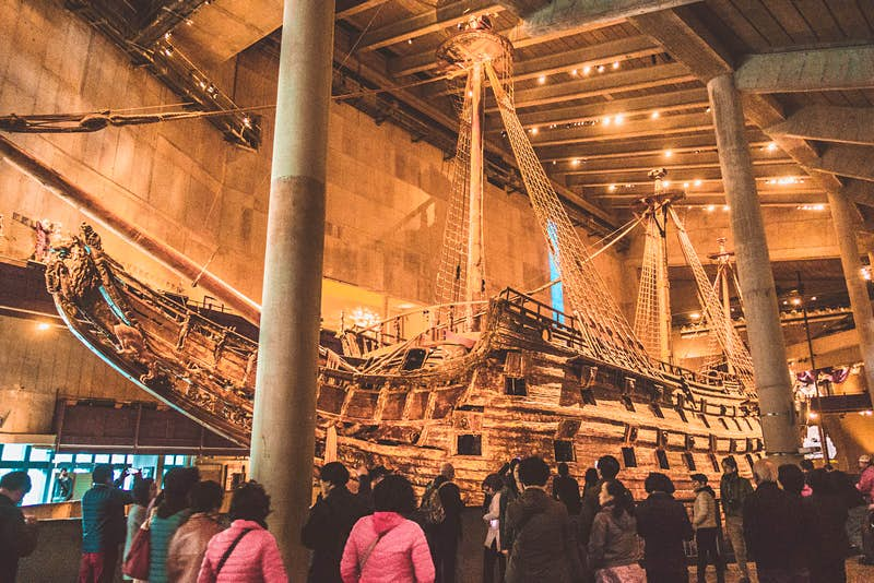 Inside Vasamuseet, crowds are gathered around the ill-fated 17th-century warship © Megan & Whitney Bacon-Evans / Lonely Planet
