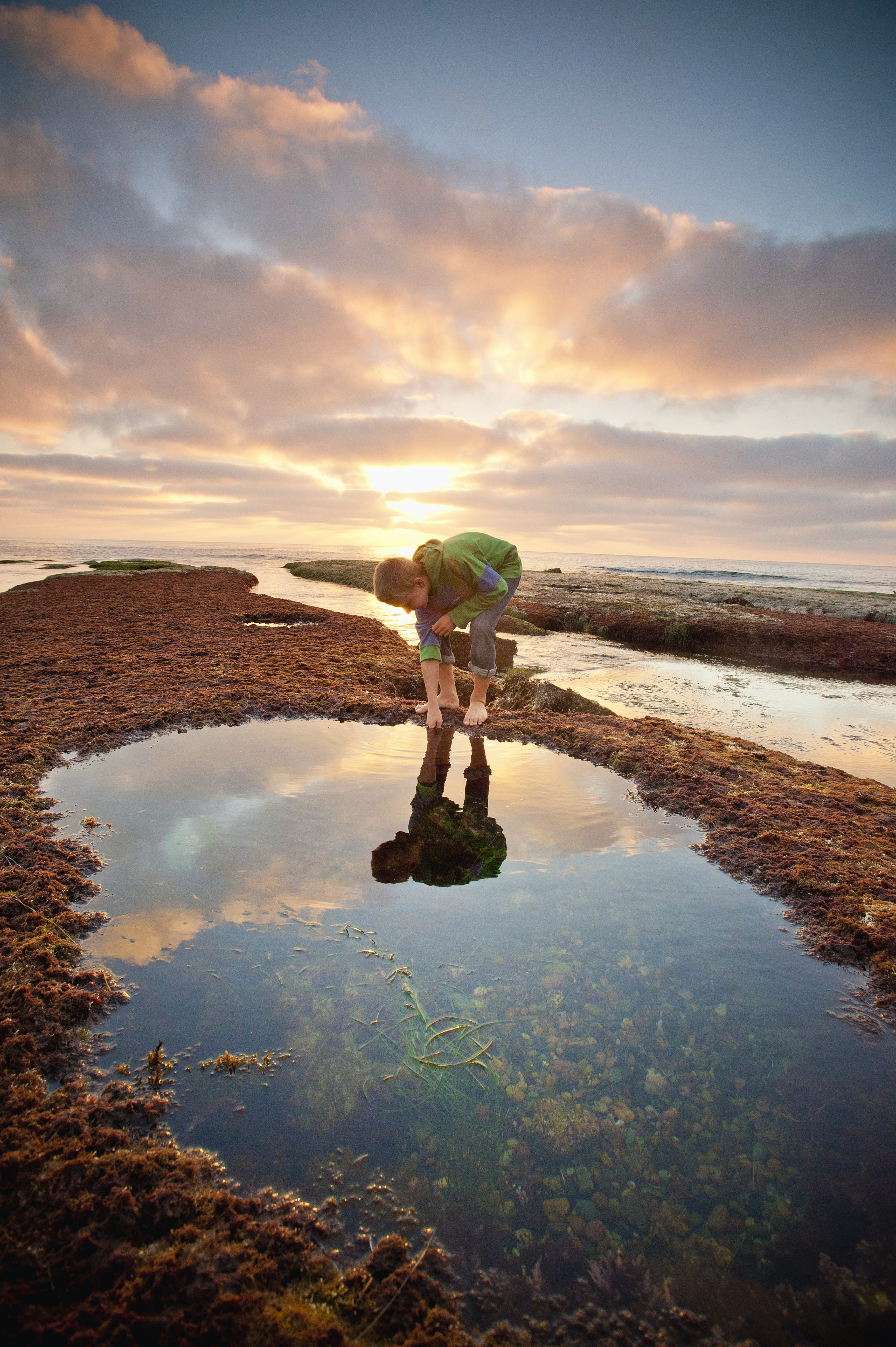 A boy examines a tide pool on the beach during sunset © Stephen Simpson / Getty Images