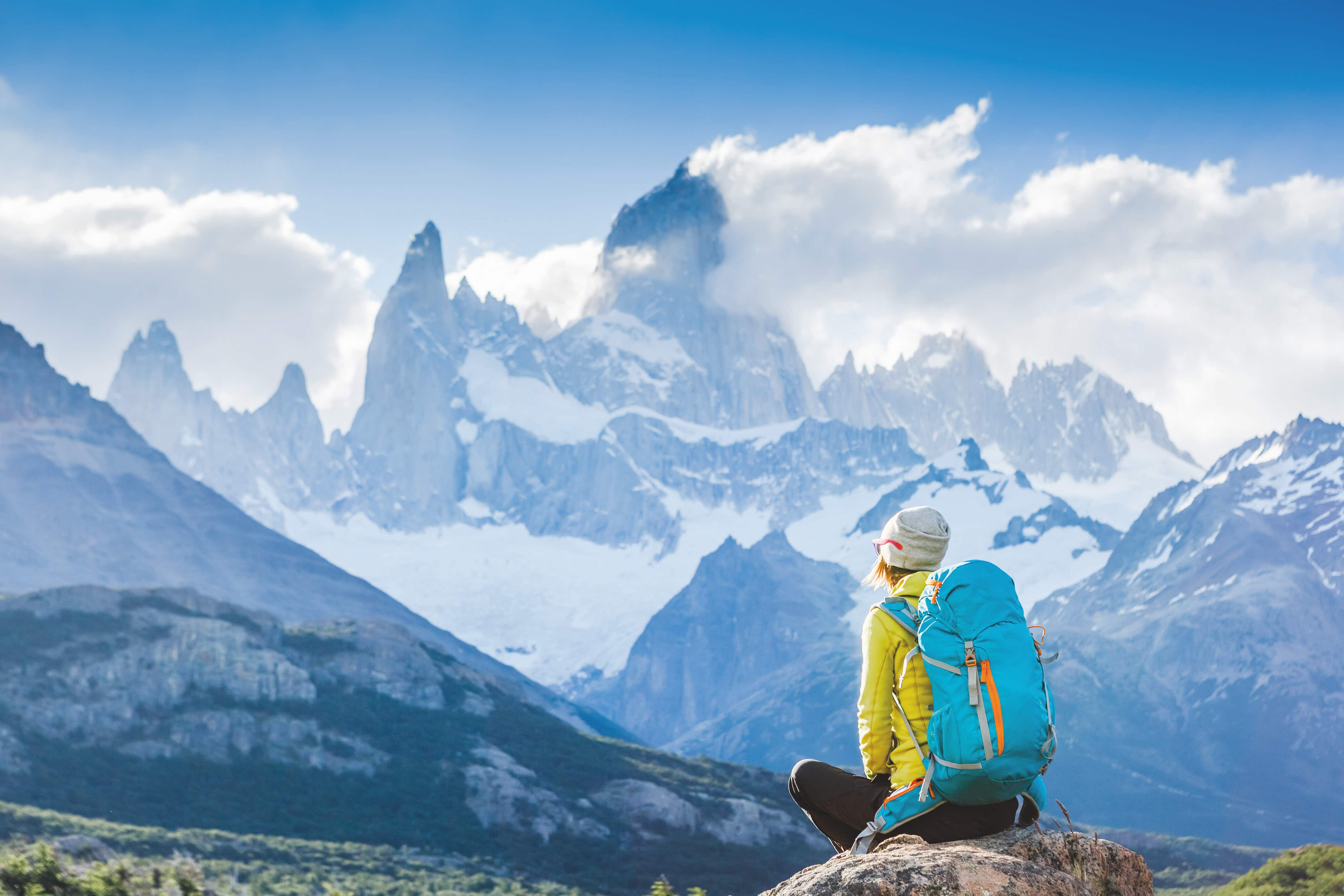 Adventure traveler fall in love with Fitz Roy, Patagonia, El Chalten - Argentina; Shutterstock ID 552773971; Your name (First / Last): daniel; GL account no.: DDiPaolo_lonelyplanet; Netsuite department name: DDiPaolo_lonelyplanet; Full Product or Project name including edition: Epic Hikes Of The World