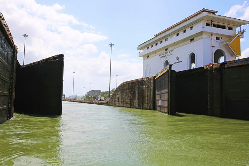 Actually being on the canal provides a unique look at the locks operating the Panama Canal Mark Dozier / Shutterstock