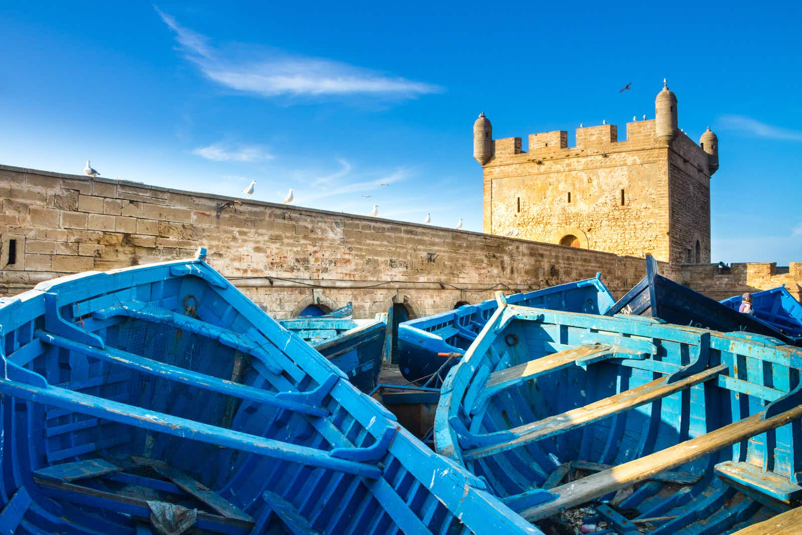 Fishermans boats in Essaouira city in the western Morocco on the Atlantic coast. It has also been known by its Portuguese name of Mogador. Morocco north Africa.