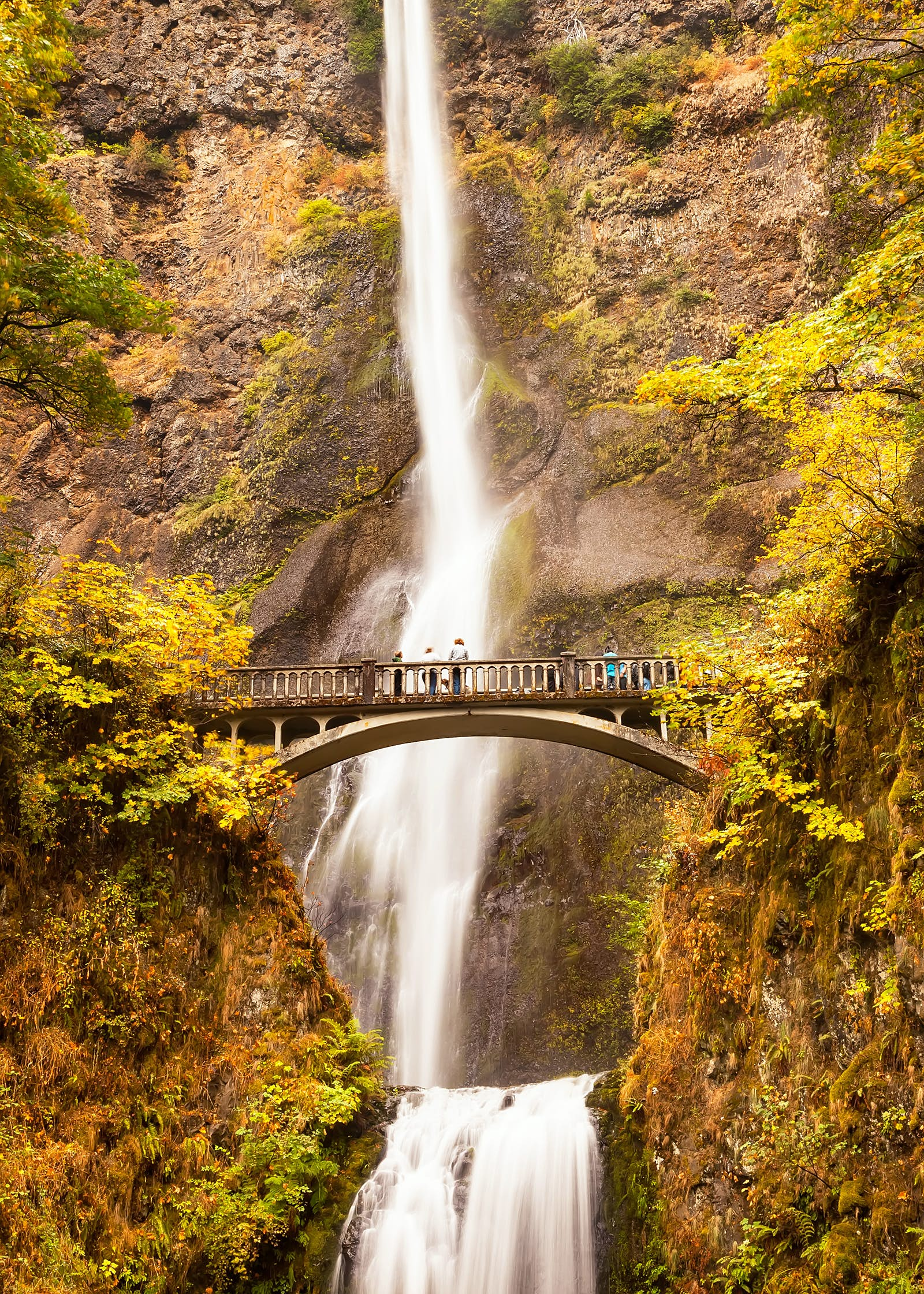People on a bridge looking up at the long, thin waterfall cascading down and flowing onwards below the bridge. Yellow and brown foliage is all over the surrounding rocks and cliff sides