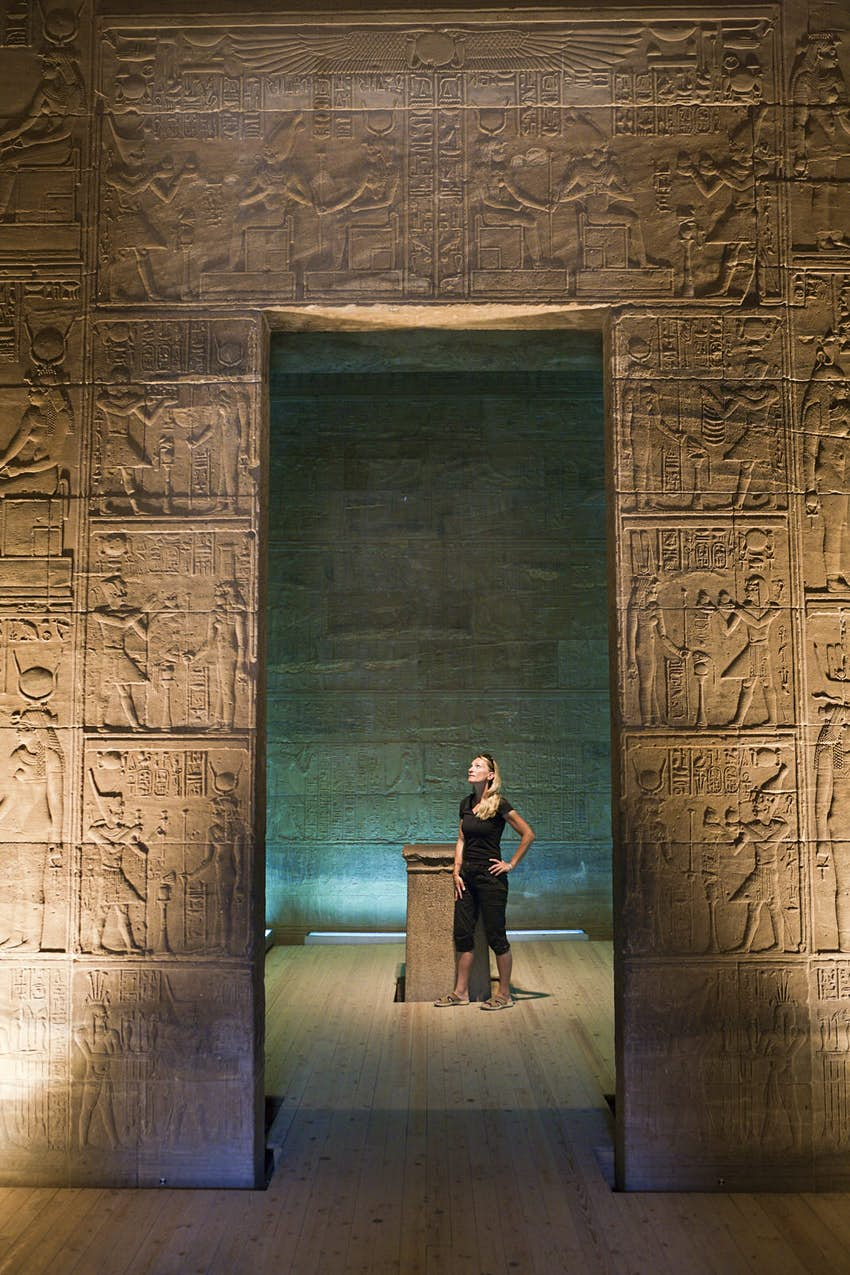 Tourist in Temple of Isis on Philae Island, Aswan, Egypt © Reinhard Dirscherl / Getty Images