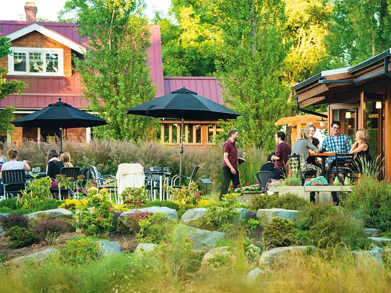 The tasting patio at Unsworth Vineyards in the heart of the Vancouver Island wine scene