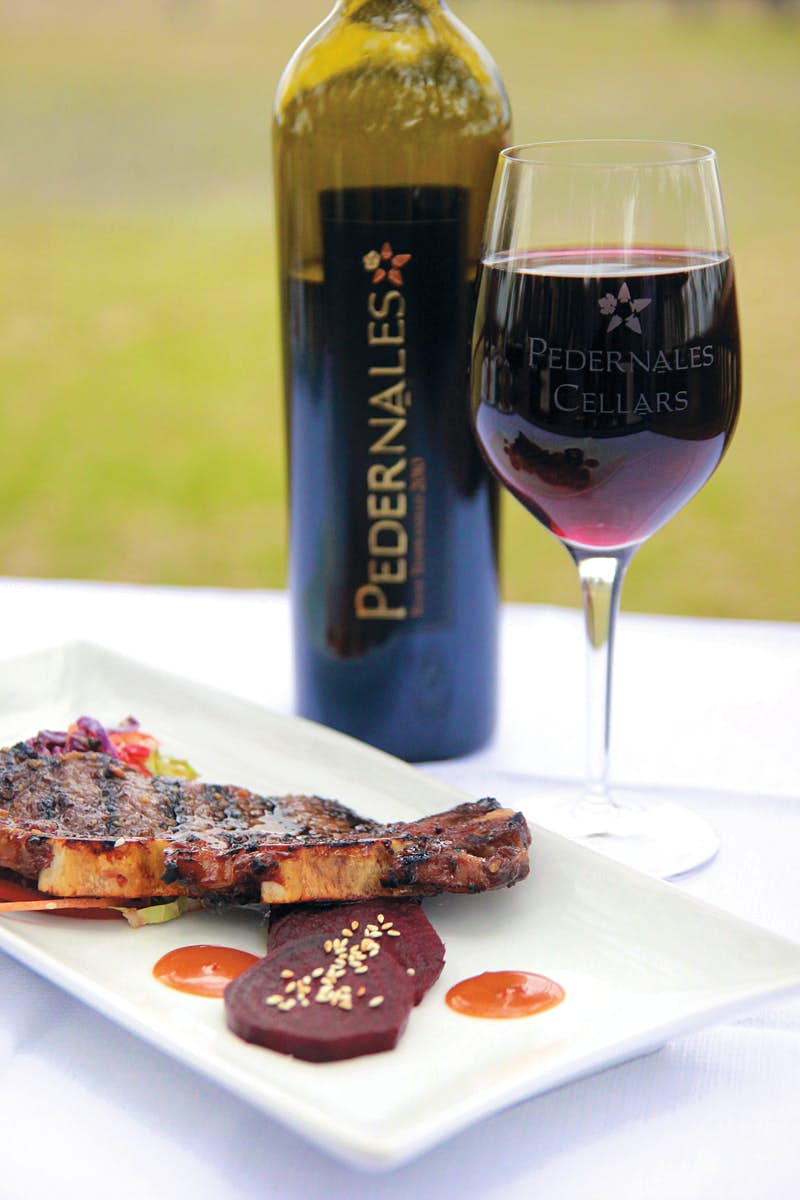 Food and wine at Pedernales Cellars, Texas