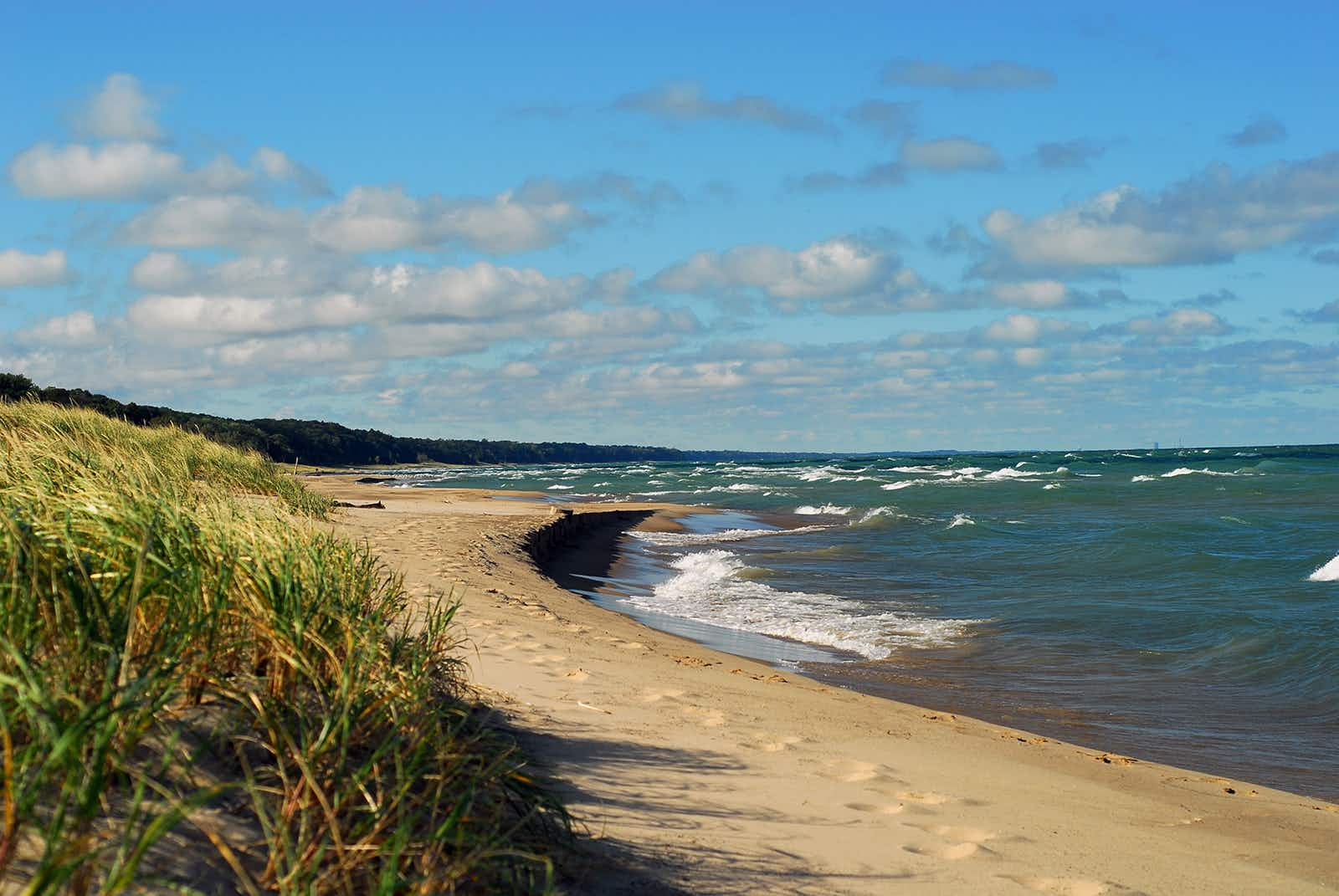 Long shot of curving coastline with white sand and tall grasses, with gentle waves from the blue water of Lake Michigan and a blue partly cloudy sky overhead