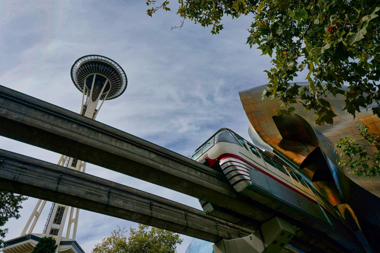 The Space Needle, with the Monorail in the foreground, were constructed for the 1962 World's Fair © Valerie Stimac / Lonely Planet