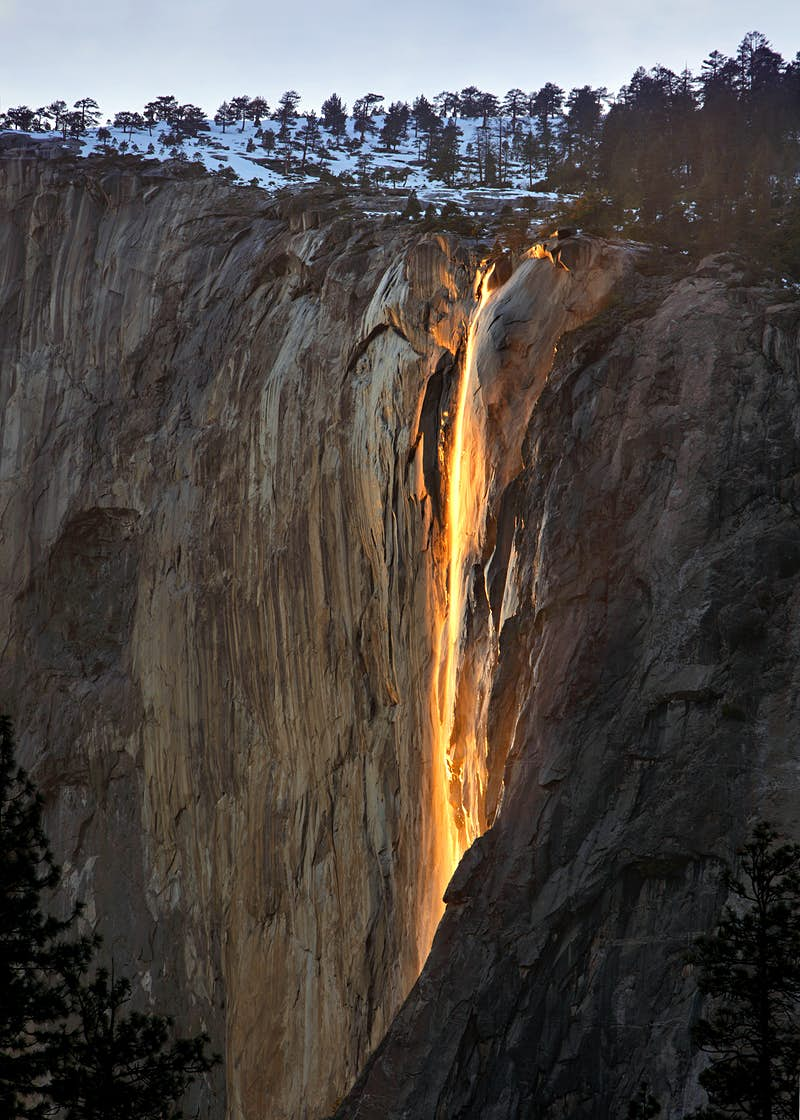 The last light of day creating a 'firefall' effect at Horsetail Falls, Yosemite National Park