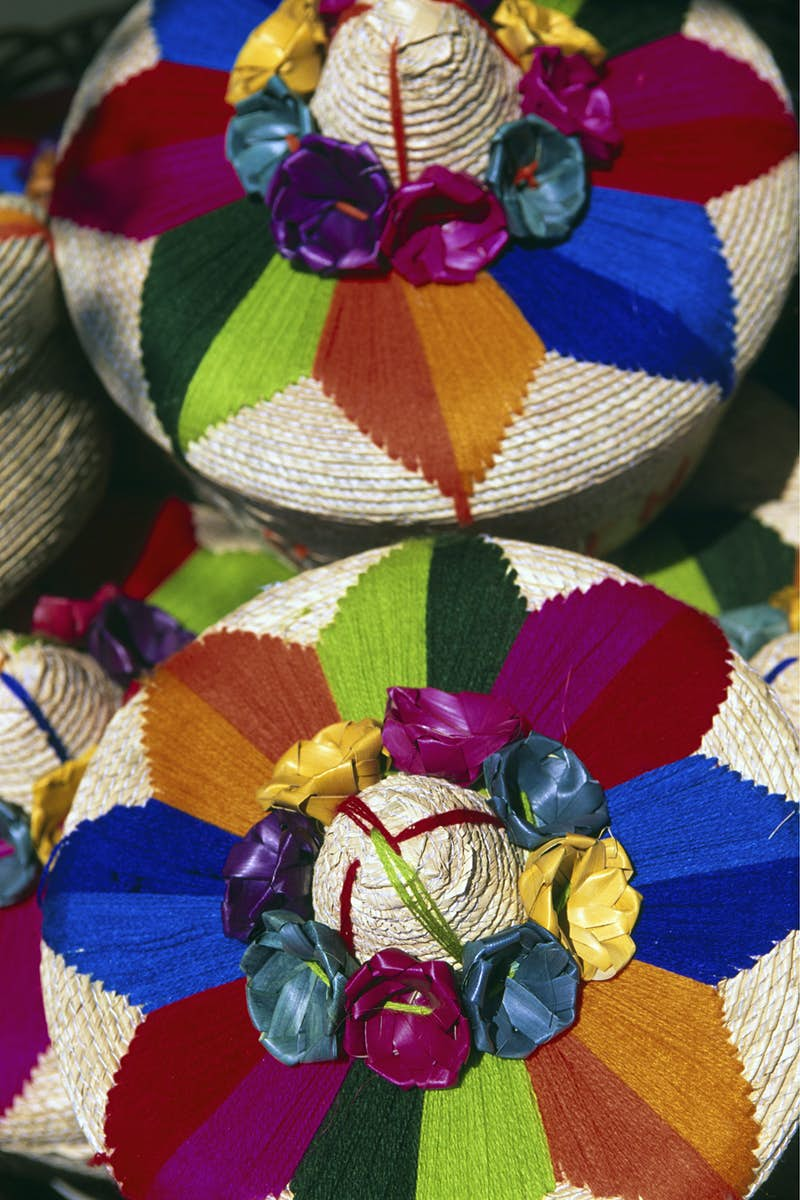 colorful sombreros with flowers