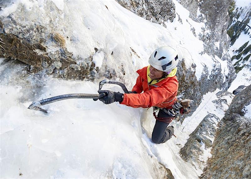 A woman ice-climbing at Ouray, Colorado