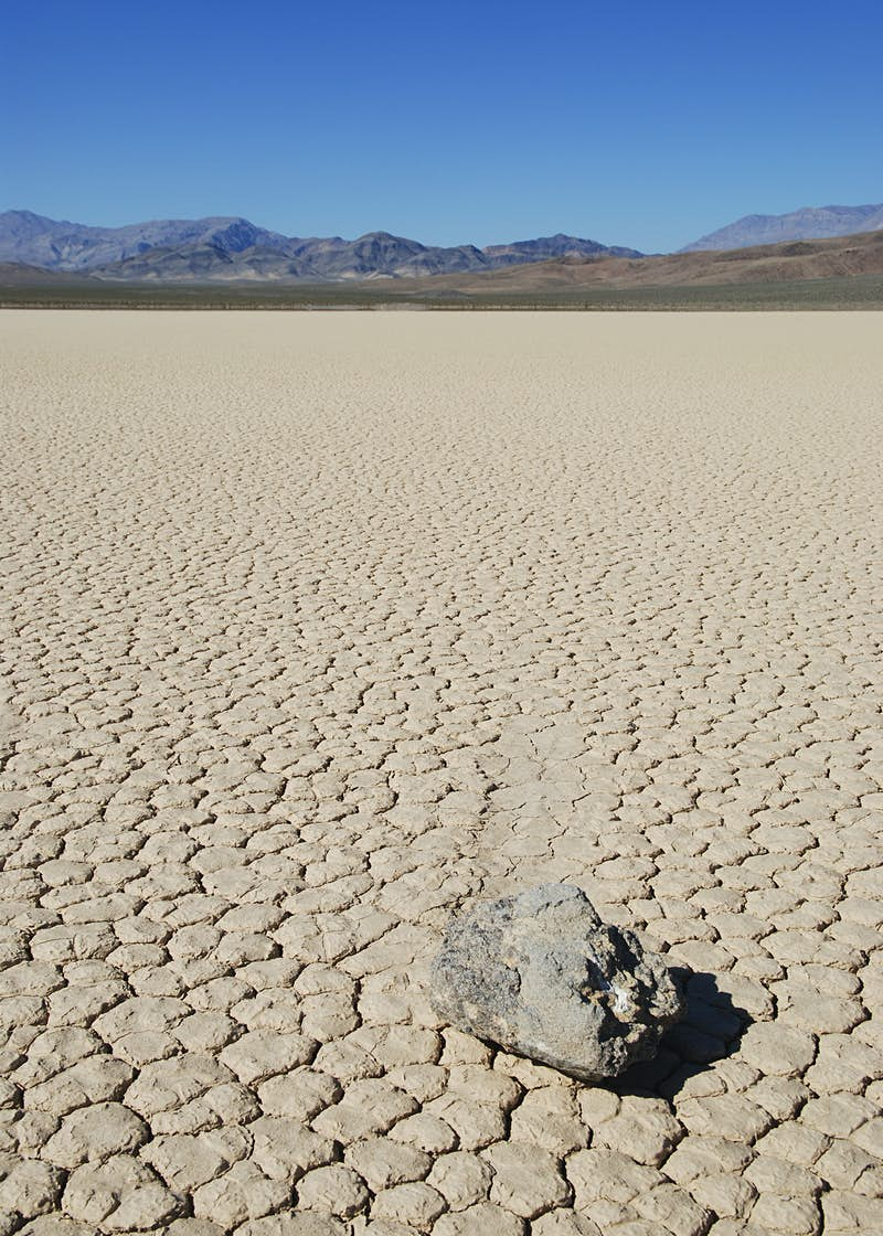 A stone lying on the Racetrack Playa, Death Valley National Park