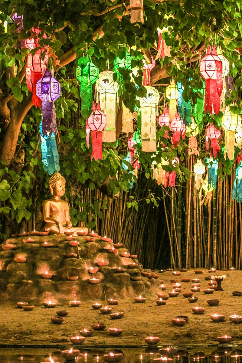 Wat Phan Tao is decorated for Loi Krathong in Chiang Mai, Thailand