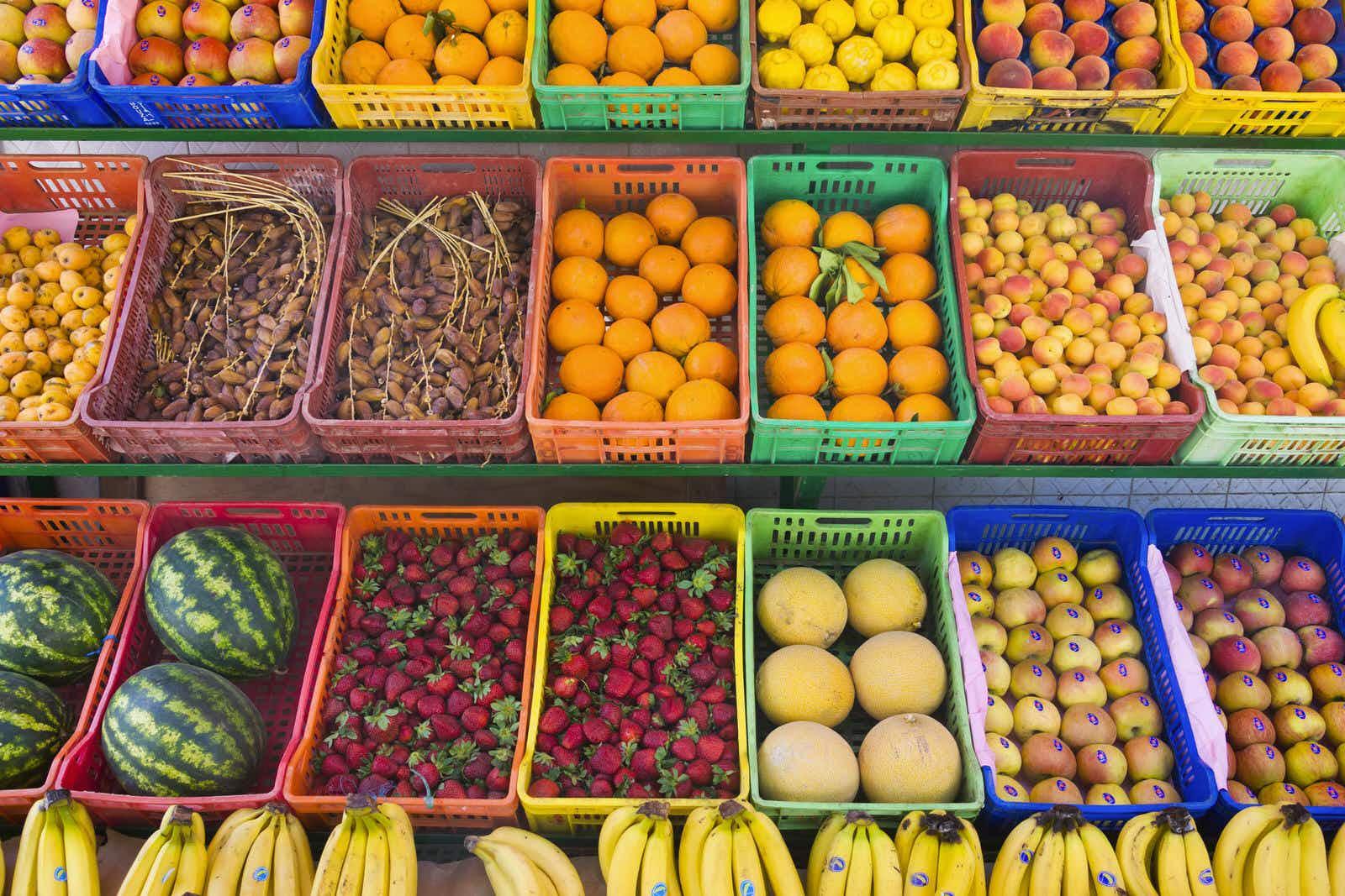 Selling fruit at the market, Hammamet, Tunisia