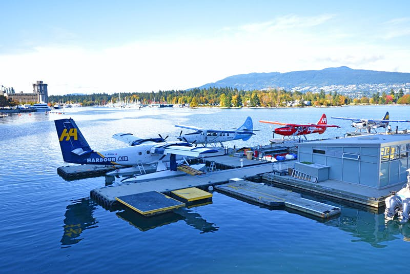 A collection of seaplanes at the harbour in Vancouver