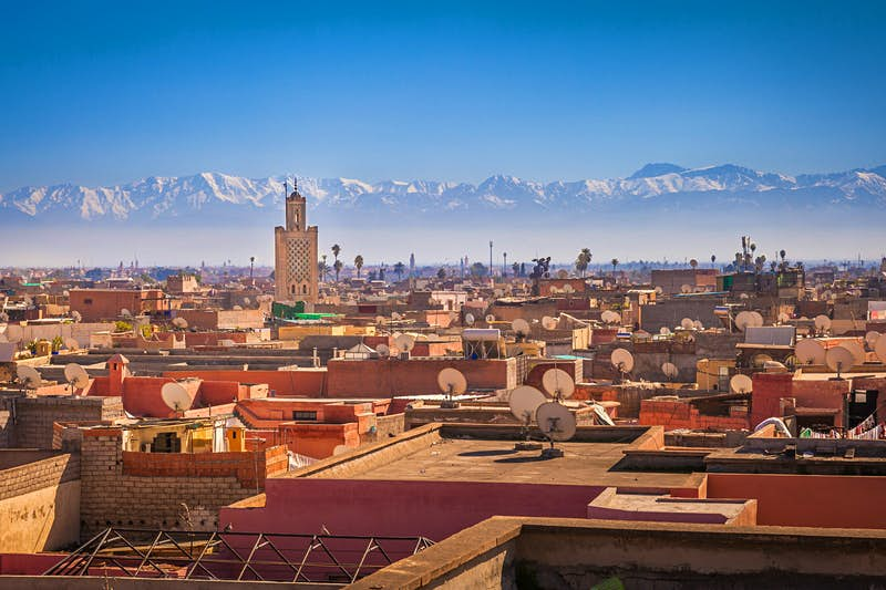 Rooftops of Marrakesh, with the Atlas Mountains in the background