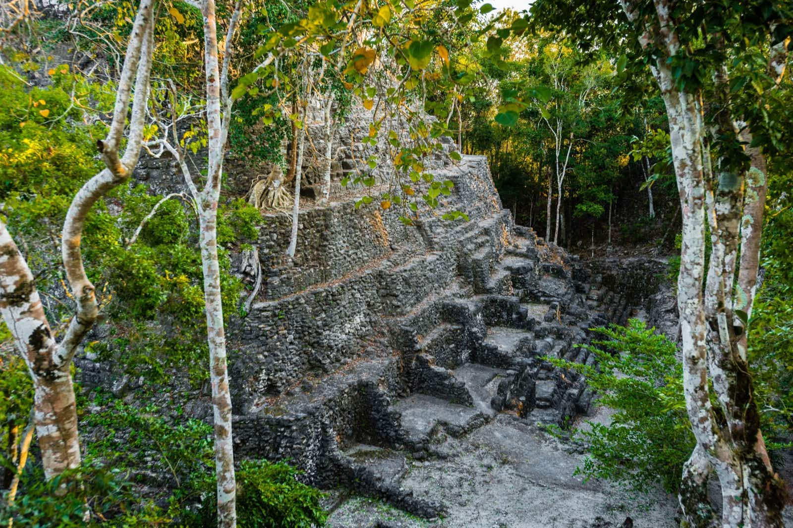 A side view highlighting the stones used to erect the La Danta pyramid at the El Mirador site in Guatemala David Ducoin/ Getty Images