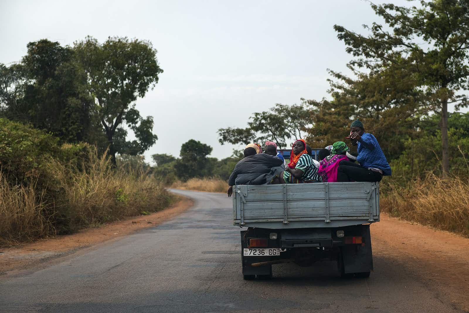 Passengers on a truck in Africa