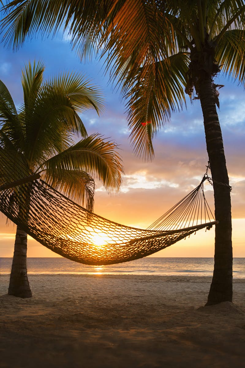 A hammock swings in the wind as the sun sets on a Jamaican beach