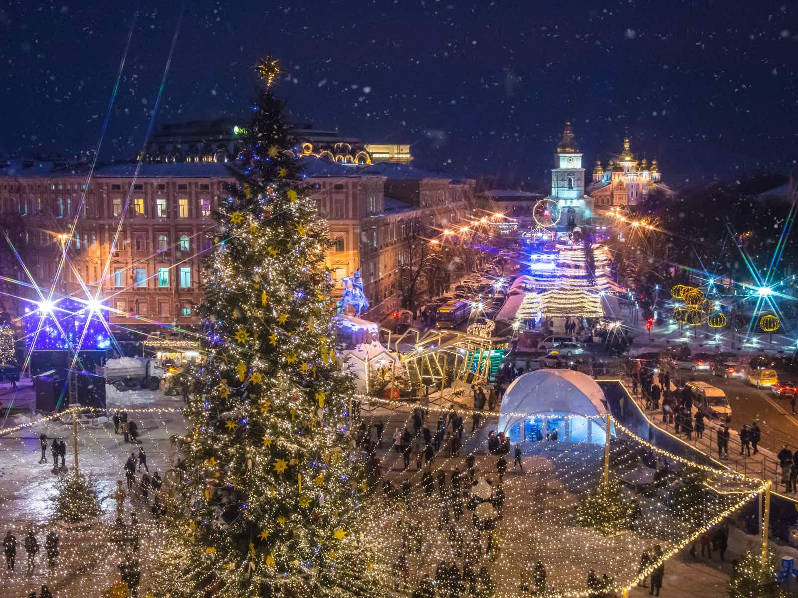 The Christmas fair transforms St Sophia's Square in Kyiv into a winter wonderland © Marianna Ianovska / Shutterstock