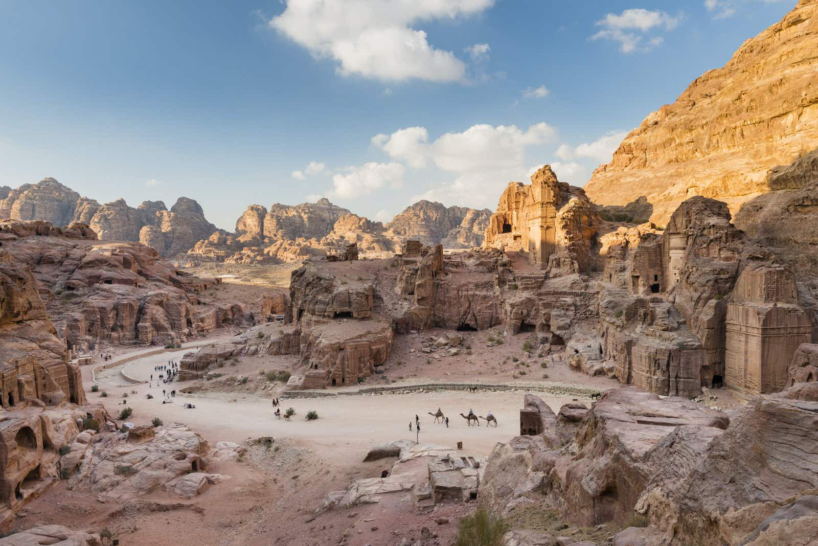 People explore the ancient ruins of Petra.
