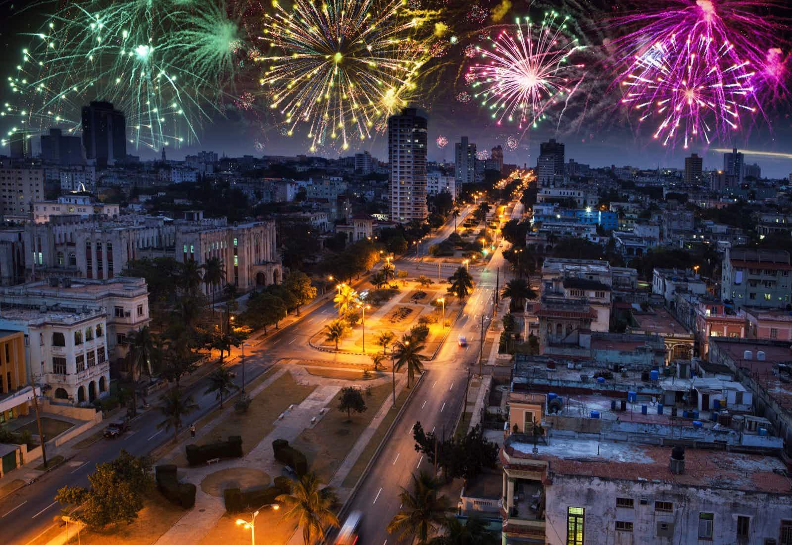 Fireworks explode over the city skyline in Havana Shutterstock
