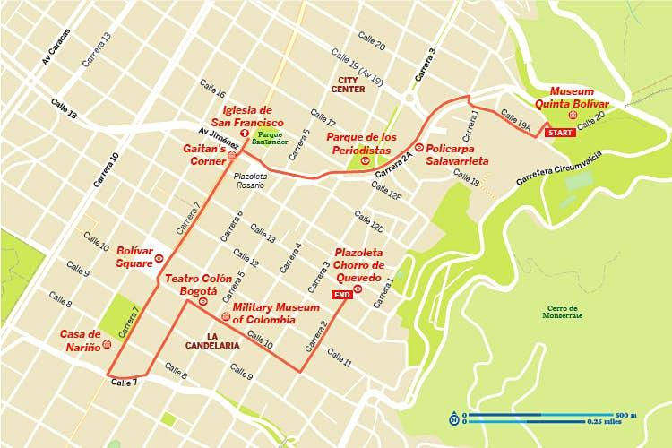 A map of a walking tour in downtown Bogotá, Colombia
