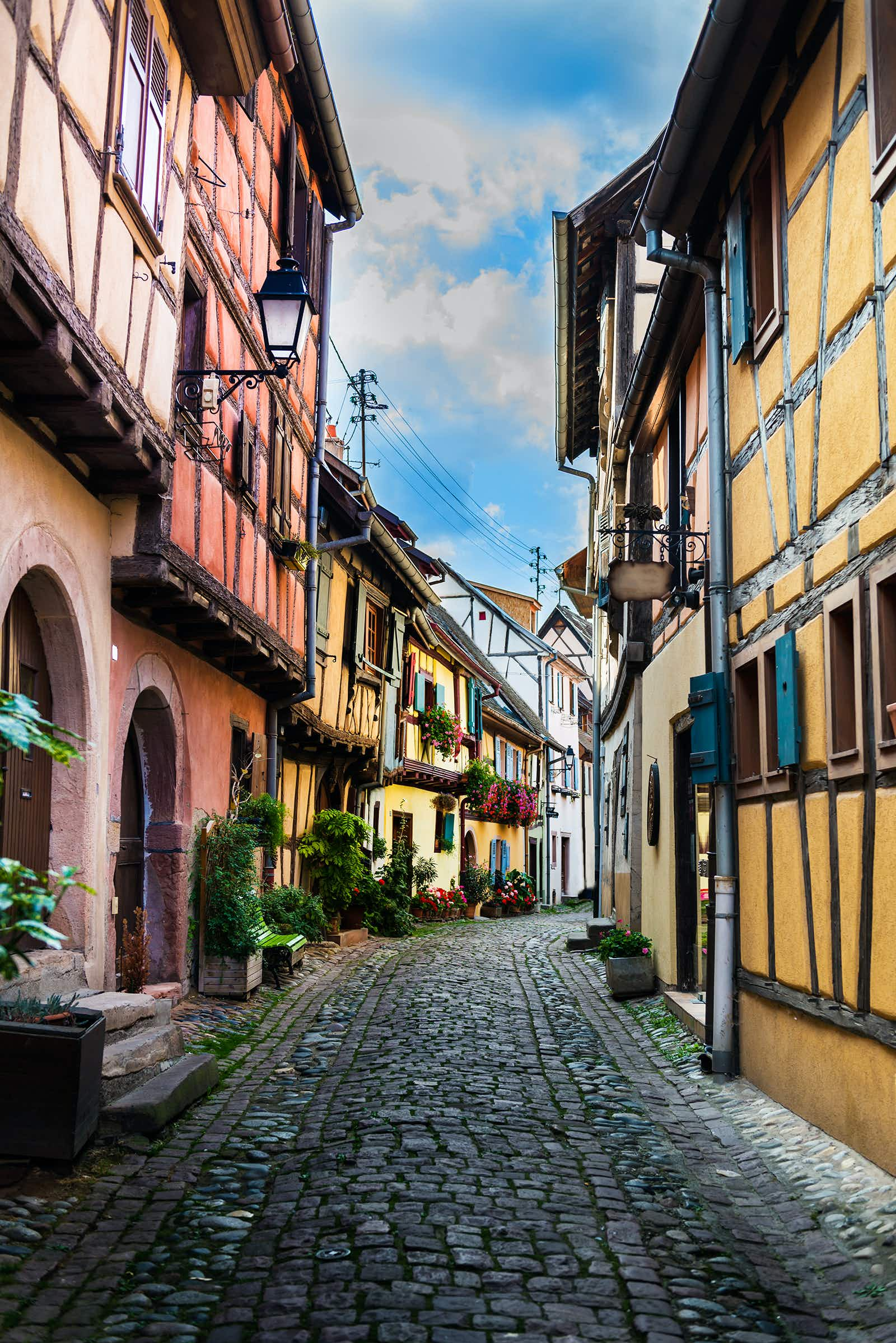 Colorful traditional french houses in Eguisheim near Colmar, Alsace, France
