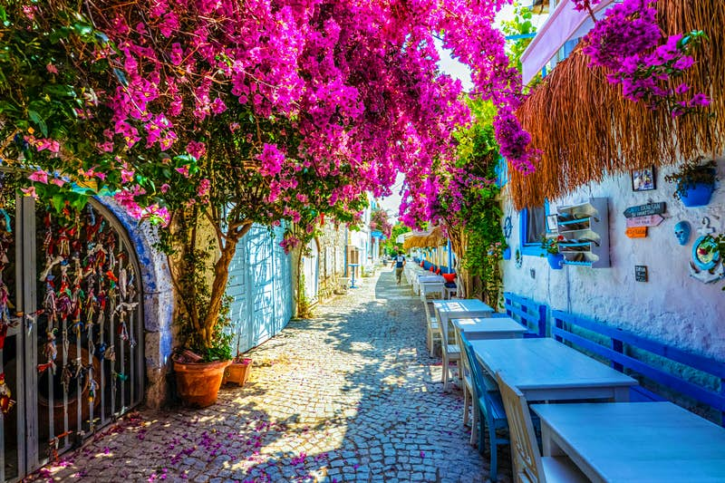 A street scene in colourful Alaçatı, one of Turkey's most upscale destinations