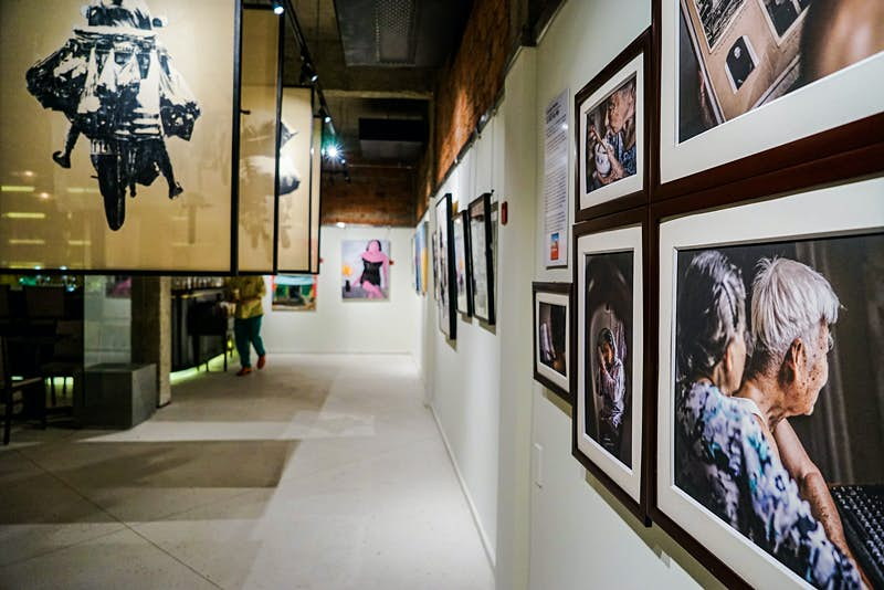 Pictures hang in Art Space, in Hoi An