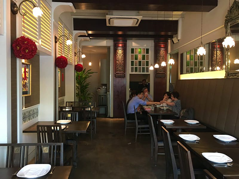 The interior of Blue Ginger restaurant in Singapore
