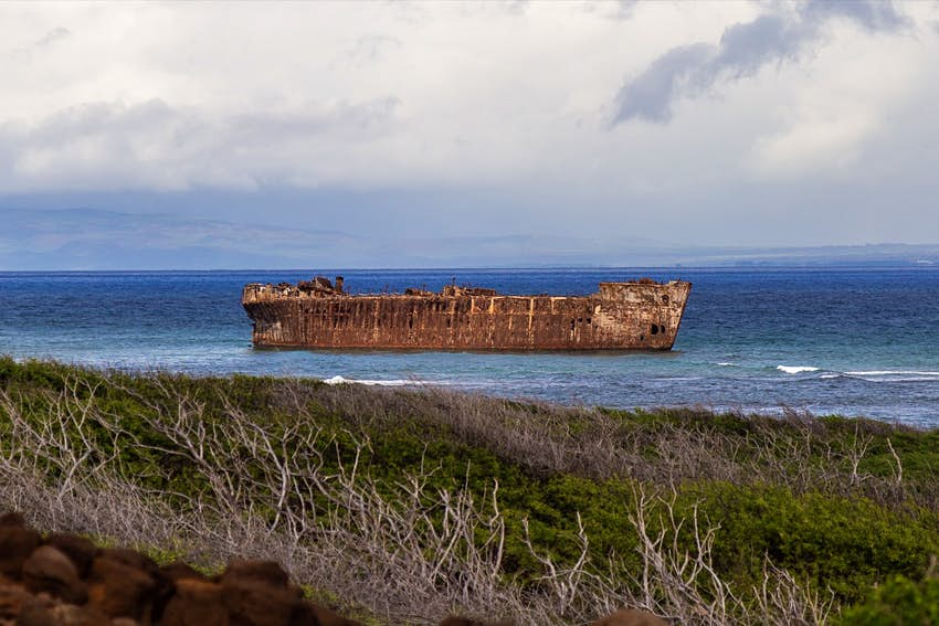 A rusted hull of a huge ship is seen just off the coast of an island, as waves crash between it and the shore and scrub brush fills the foreground