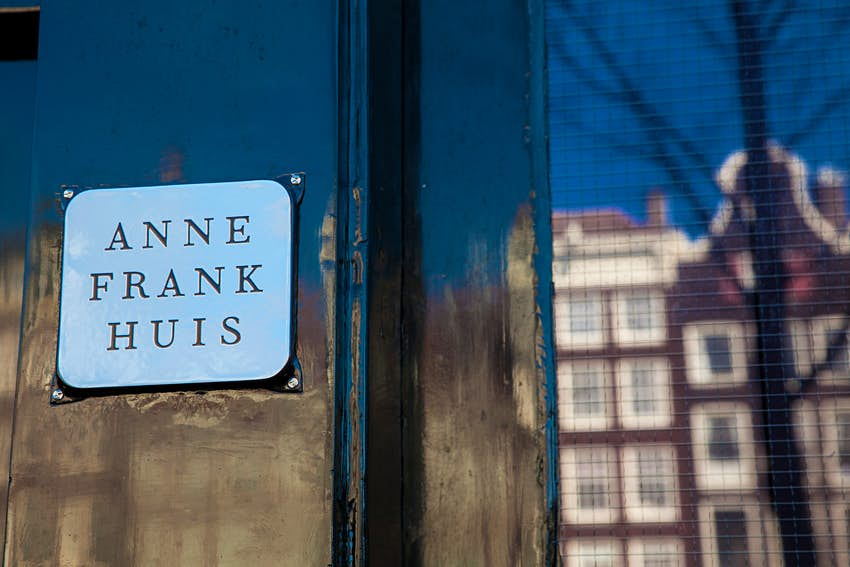 A plaque outside the Anne Frank House, Amsterdam