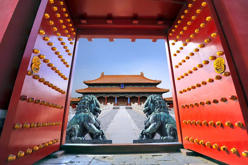 A red gate of the Forbidden City, Beijing, China