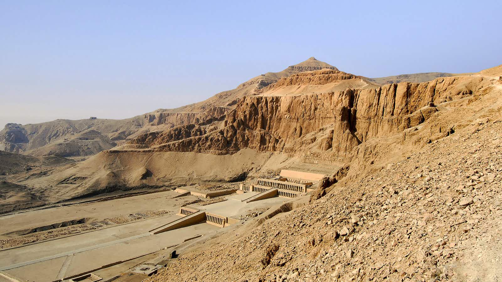 Queen Hatchepsut's temple, Luxor, Egypt  viewed from the Theban path.