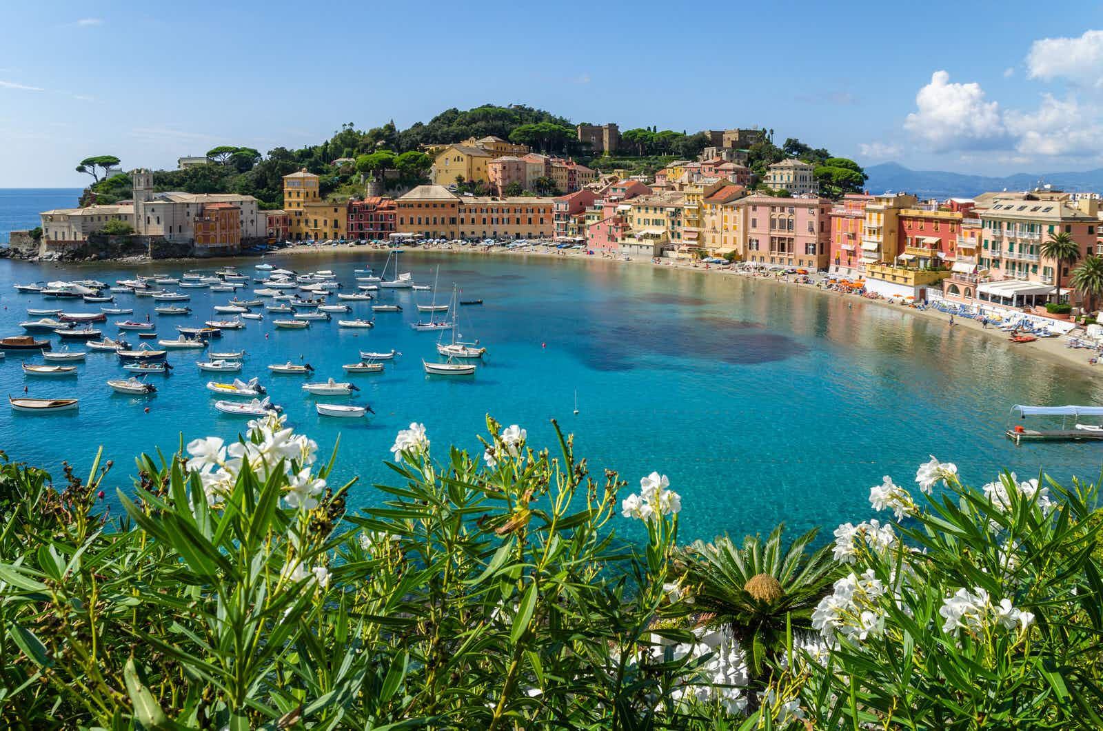 Sestri Levante is found approximately halfway between Genoa and La Spezia. The town has two bays: Baia delle Favole, (Bay of the Fables), and Baia del Silenzio, the (Bay of Silence).