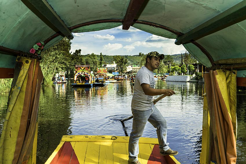 A boatman on Mexico City's Xochimilco Canals
