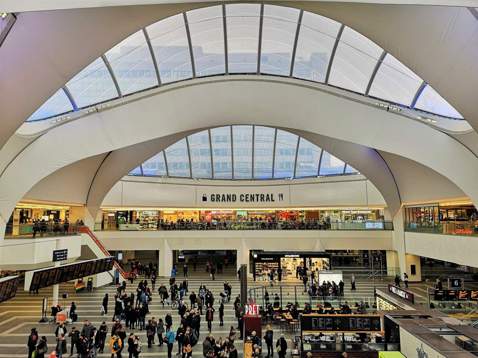 The soaring roof of Grand Central, Birmingham