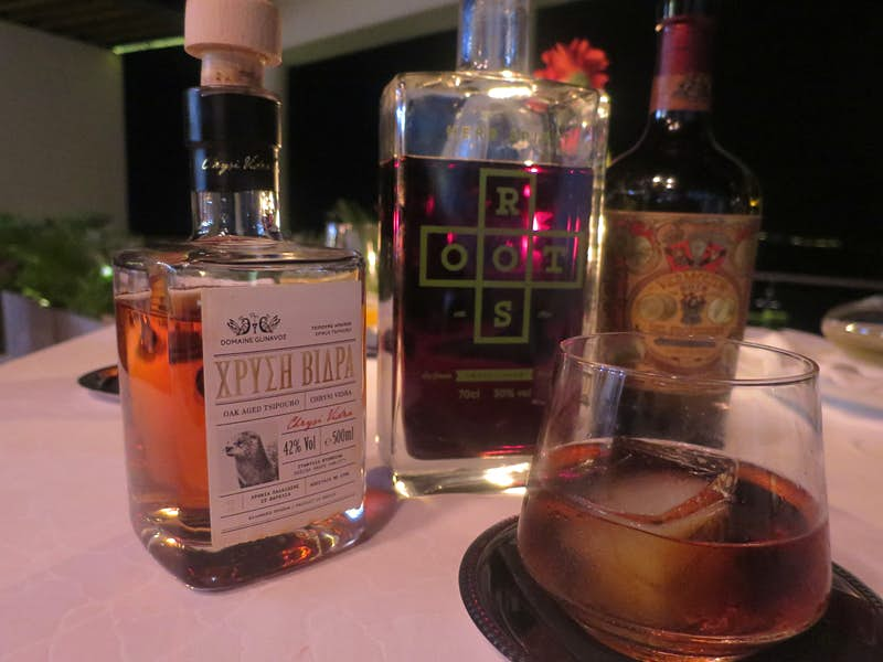 The Greek Old Fashioned is made with tsipouro aged in oak barrels for two years