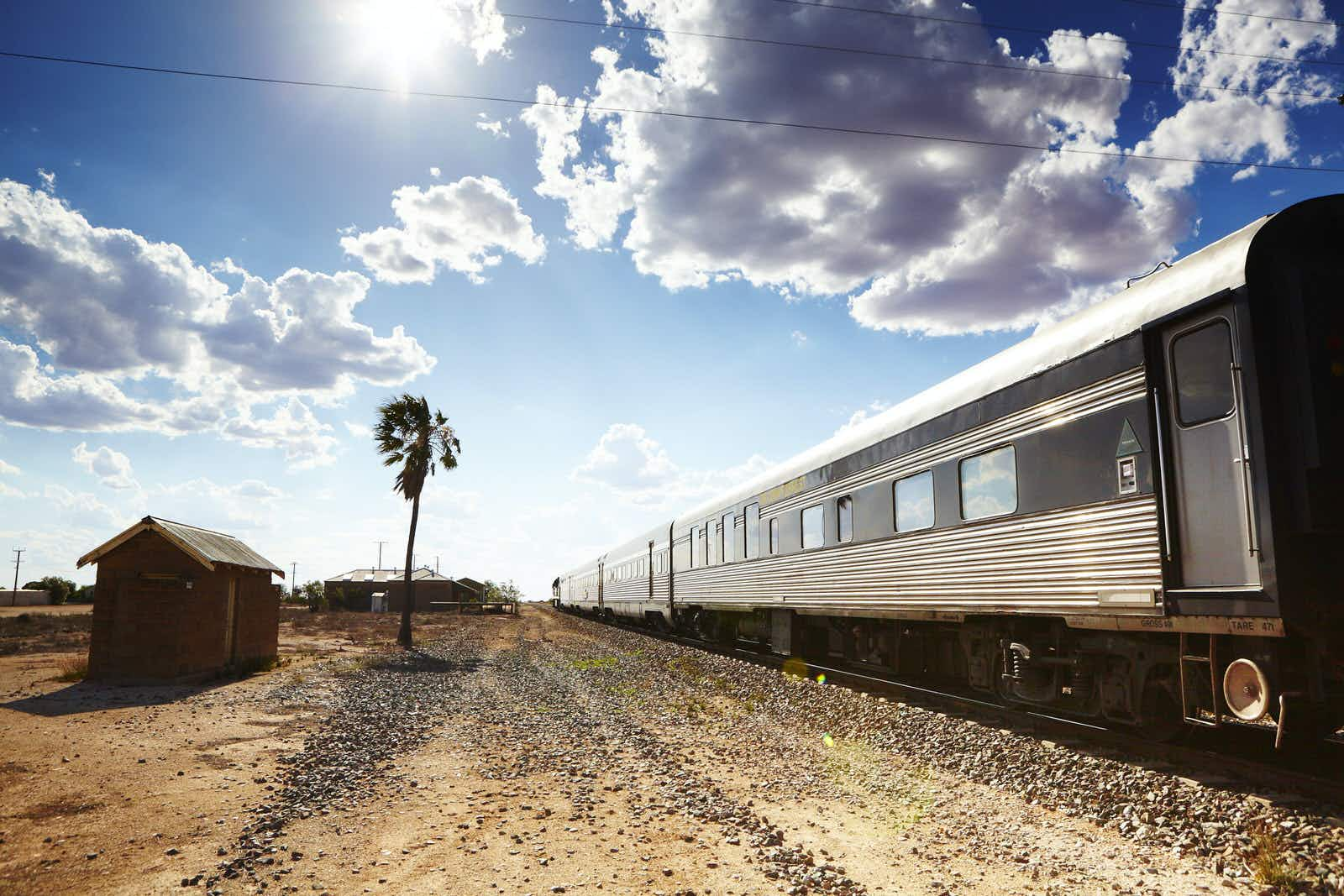 The Indian Pacific train stops in a small town on the Nullarbor Plain.