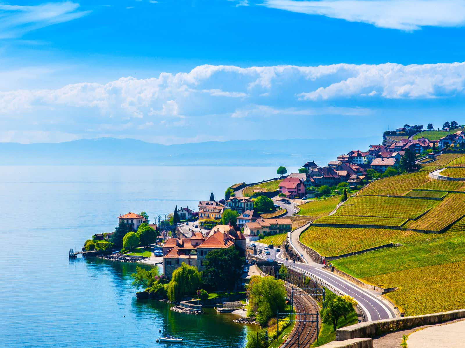 The World Heritage–listed vineyards of Lavaux set against Lake Geneva © PixHound / Shutterstock