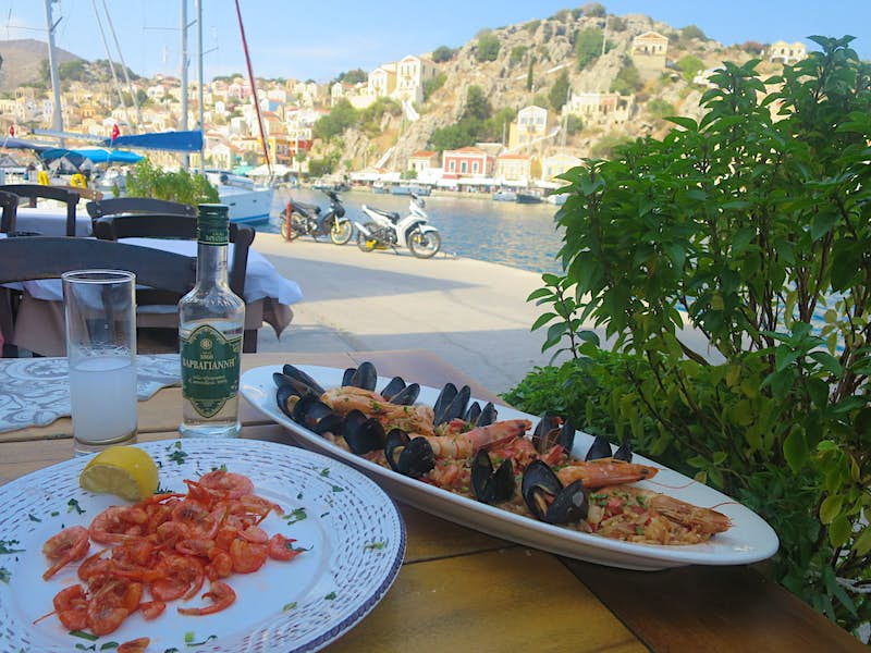 The Symi shrimp are tiny and sweet and eaten in their entirety, like a soft shell crab