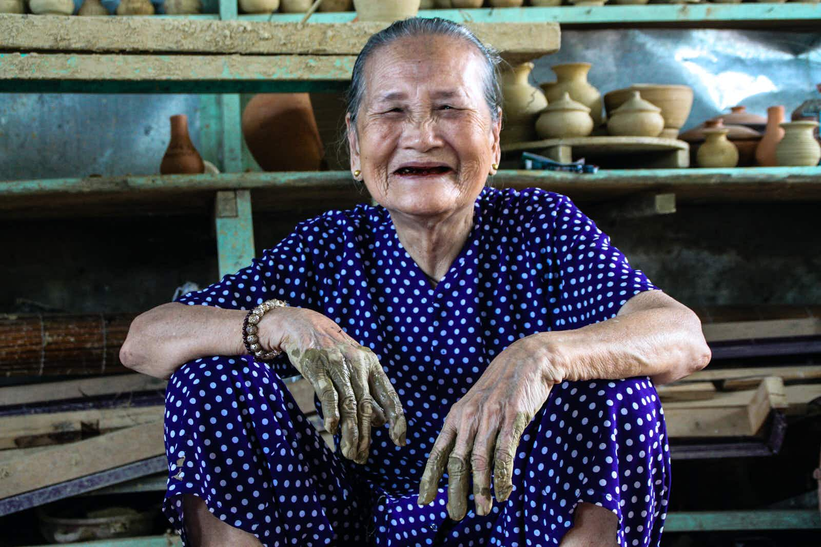 Born in 1923, Mrs Phu still throws pottery in Thanh Ha Village, near Hoi An © James Pham / Lonely Planet