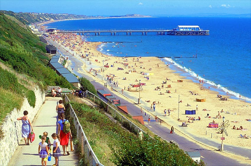 A sloping path leads down to Bournemouth beach