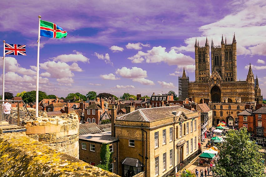 The view across Lincoln towards the cathedral from the castle's battlements