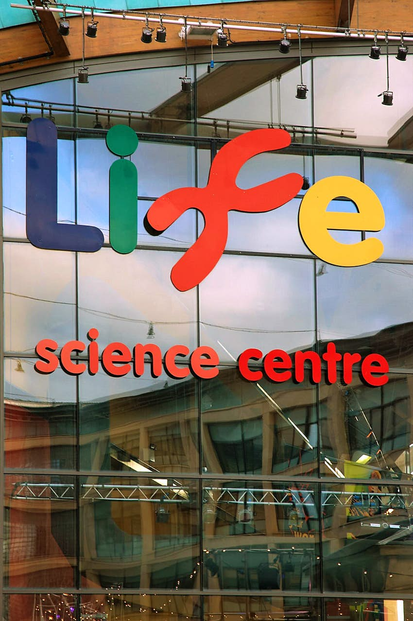 The Life Science Centre sign on the entrance to the building